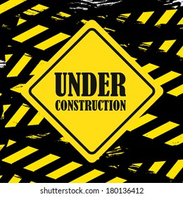 under construction design over black background vector illustration
