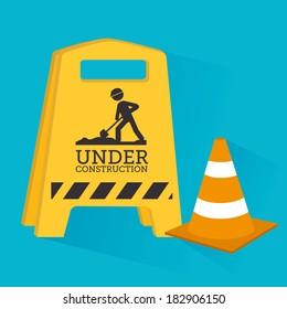 Under construction design over blue background, vector illustration