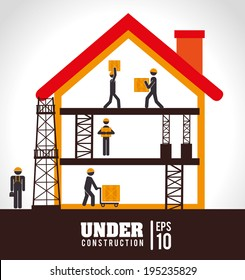 Under construction design over white background,vector illustration