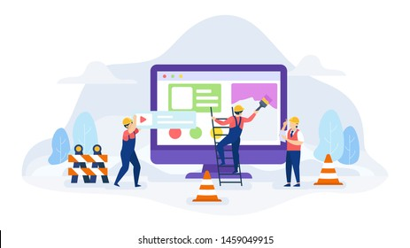 Under construction error not found concept vector illustration, Illustration for wallpaper, background, card, brochure, flyer, landing page, property advertisement.