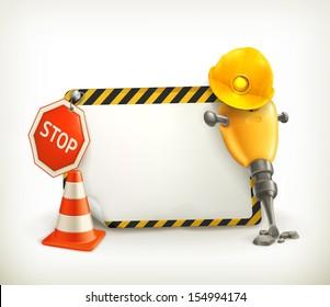 Under construction frame, vector