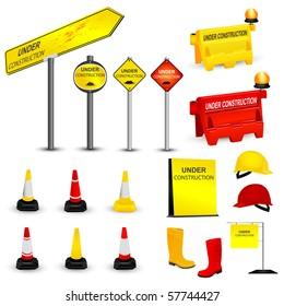 Under Construction items set. Vector illustration