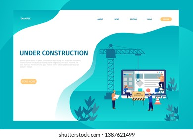 Under construction landing page for site. professional team working on site projects with teamwork. Under construction can be used for websites, landing pages, UI, mobile applications, posters, banner