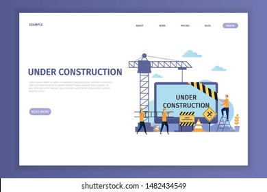 Under construction landing page for site. Under construction can be used for websites, landing pages, UI, mobile applications, posters, banner