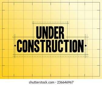 under construction measurements illustration design over a yellow blueprint background