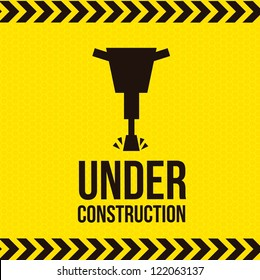 under construction over yellow  background. vector illustration