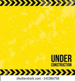 under construction over yellow background vector illustration