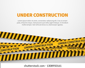 Under construction page. Caution yellow tape construct warning line background sign web page security caution, vector illustration