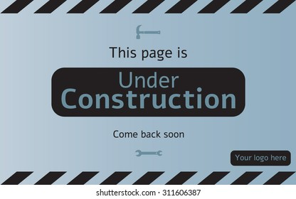 Under construction page with come back soon massage and logo area.