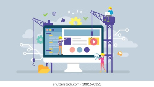 Under Construction Page Tiny People Character Concept Vector Illustration, Suitable For Wallpaper, Banner, Background, Card, Book Illustration, Web Landing Page, and Other Related Creative