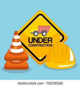 under construction road sign helmet and traffic cone