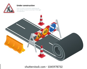 Under construction of road. Under construction sign. Maintenance and construction of pavement. Flat vector isometric illustration