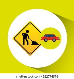 under construction road sign sedan red vector illustration eps 10