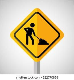 under construction road sign worker vector illustration eps 10