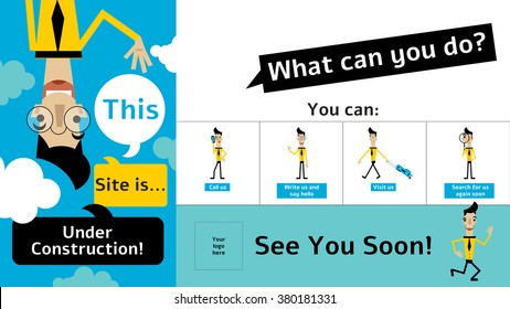 Under construction see you soon webpage with a happy funny businessman and buttons: call us, write us, visit us, search for us.
