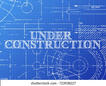 Automation text hand drawn on blueprint vectores en stock 667434655 under construction sign and gear wheels technical drawing on blueprint background malvernweather Image collections