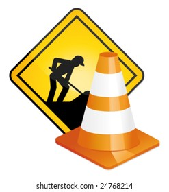 Under construction sign and traffic cone vector
