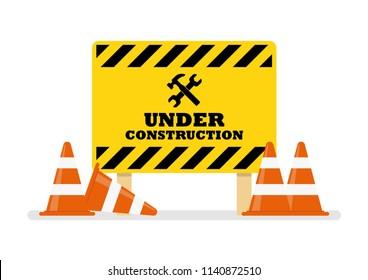 Under Construction Sign. Vector illustration