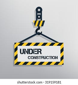 Under construction sign. Warning message for website. Flat design vector illustration.