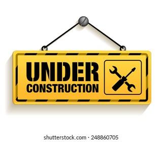 Under Construction Sign in White Background. 3D Mesh Vector illustration