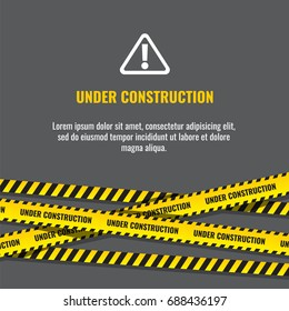 Under construction website page with black and yellow striped borders vector illustration. Border stripe web, warning banner