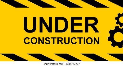 Under construction, yellow rectangle warning sign with text and gears symbol, vector illustration.