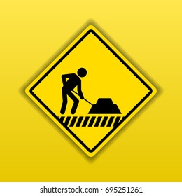Under construction yellow warning sign for people who pass the area. Vector illustration design.