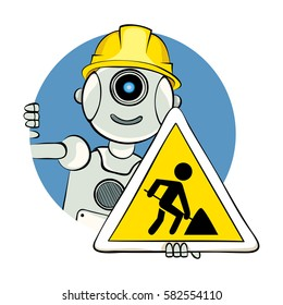 Under construction/Robot with a warning sign (road work), vector illustration