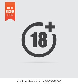 Under eighteen icon in flat style isolated on grey background. For your design, logo. Vector illustration.