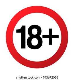 Under eighteen years prohibition sign, adults only, vector illustration. Not allowed for teenagers or people before 18 years old. Parental control. Circle red sign with numbers crossed.