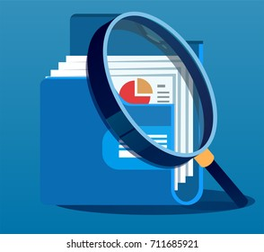 Under magnifying glass with folder