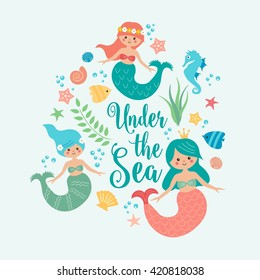 Under the sea card with mermaid, leaves, seashells and fish. Simple and cute illustration in pastel colors.