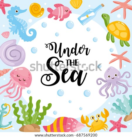 Under Sea Card Vector Illustration Different Stock Vector Royalty