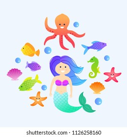 Under the sea, cartoon mermaid with fishes and sea animals, vector collection