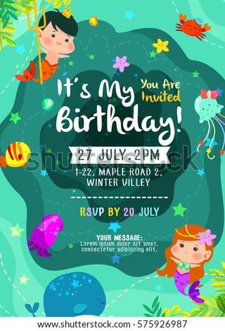 Under The Sea Cute Birthday Invitation Card With Mermaid Merman And Friends