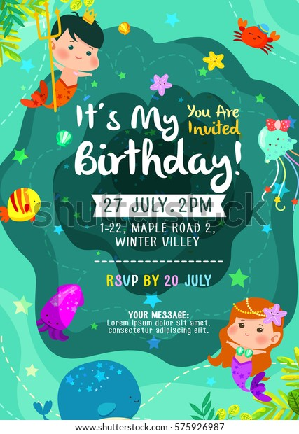 Under The Sea Cute Birthday Invitation Card With Mermaid Merman And Friends
