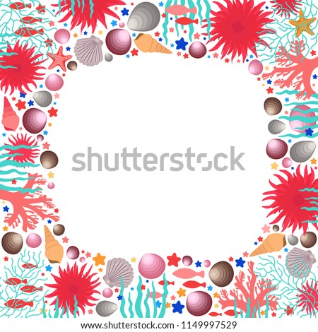Under Sea Life Square Frame Underwater Stock Vector Royalty Free