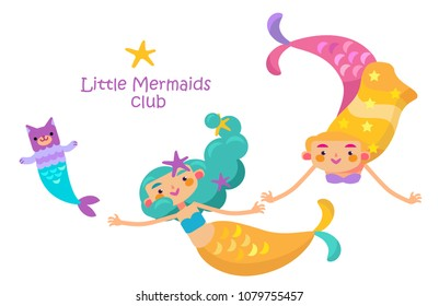 Under the sea - little mermaid, fishes, sea animals and starfish, vector collection. Festival sea summer collection.