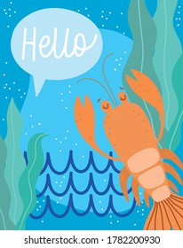 under the sea, lobster algae water wide marine life landscape cartoon vector illustration