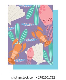 under the sea, lobster jellyfishes shell fishes algae water wide marine life landscape cartoon vector illustration
