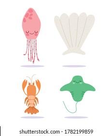 under the sea, lobster stingray jellyfish wide marine life landscape cartoon vector illustration