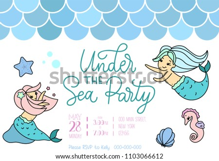 under sea party invitation little girl stock vector royalty free
