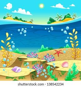 Under the sea. Vector and cartoon illustration.