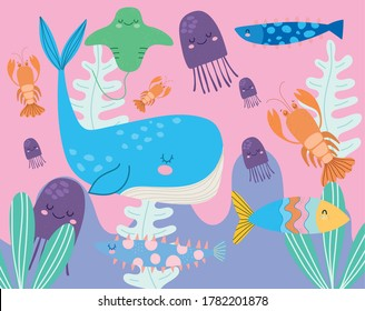 under the sea, whale jellyfishes stingray lobster wide marine life landscape cartoon vector illustration