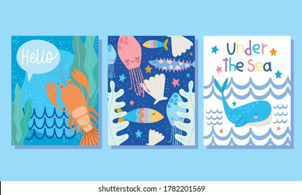 under the sea, wide marine life landscape cartoon lobster whale shell banner cover and brochure vector illustration