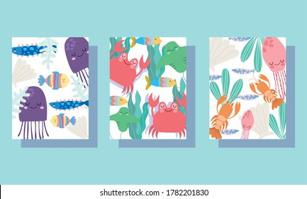 under the sea, wide marine life landscape cartoon jellyfish crabs lobster banner cover and brochure vector illustration