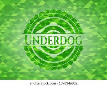 Underdog green emblem with triangle mosaic background