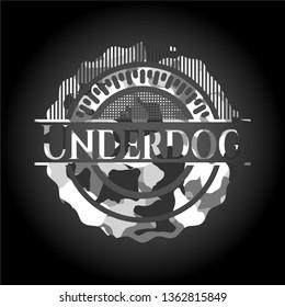 Underdog grey camouflaged emblem
