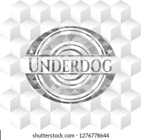 Underdog grey emblem with cube white background