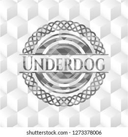 Underdog grey emblem with geometric cube white background